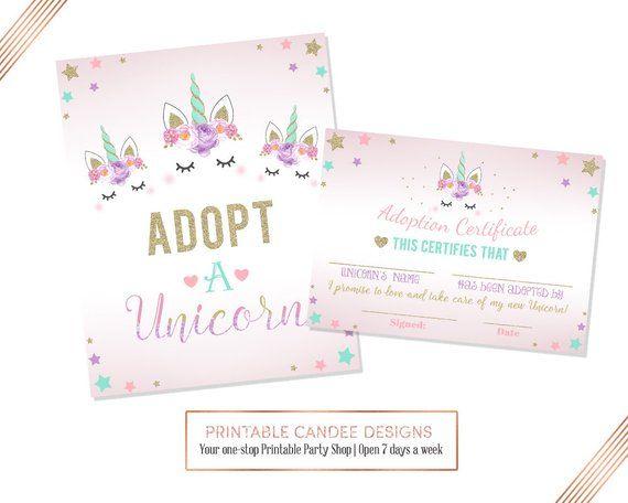 Adopt A Unicorn Certificate, Unicorn Birthday, Unicorn Printable