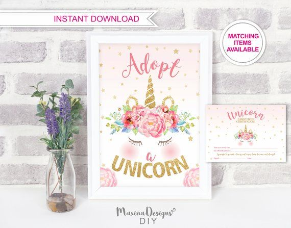 Adopt A Unicorn Certificate, Unicorn Party Sign, Unicorn Game