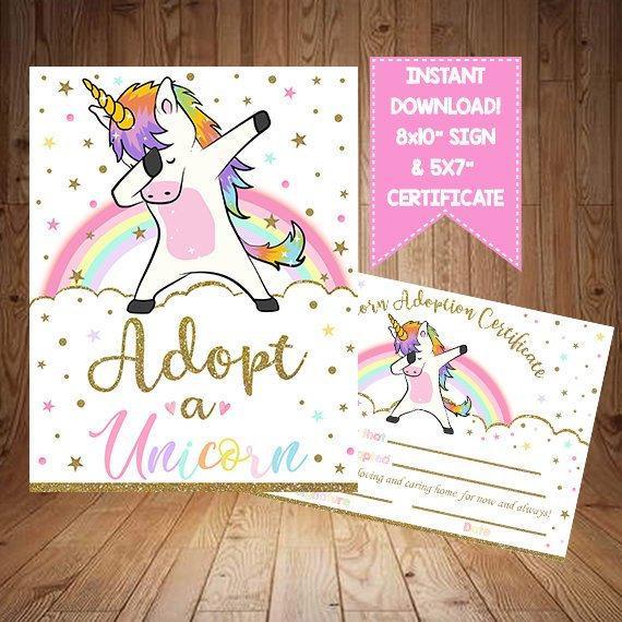 Adopt A Unicorn Certificate Unicorn Party Unicorn Game