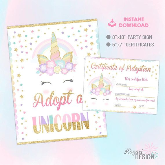 Adopt A Unicorn Certificate, Unicorn Party, Unicorn Party Game