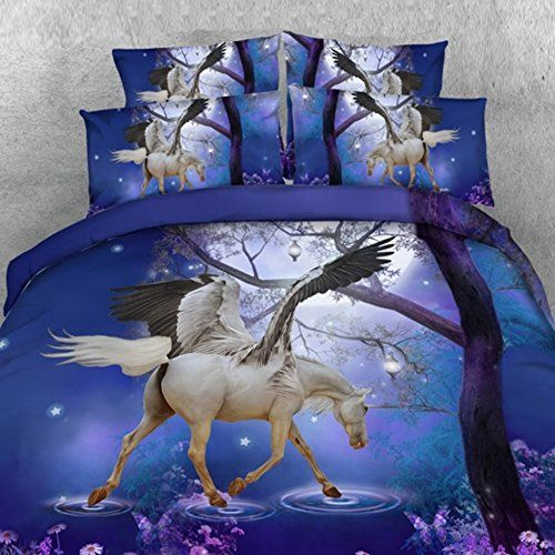 Alicemall 3d Unicorn Bedding Horse Comforter Set 3d Unicorn With