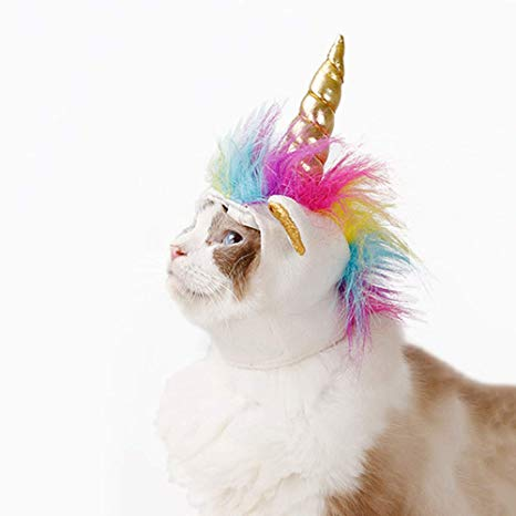 Amazon Com   Zoopolr Unicorn Costume For Cats, Horn Headdress Wig