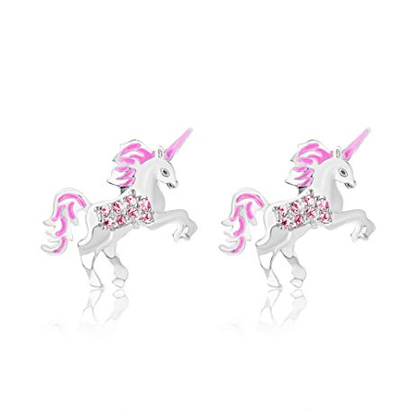 Amazon Com  Chanteur Premium 9mm Crystal Unicorn Screwback Kids
