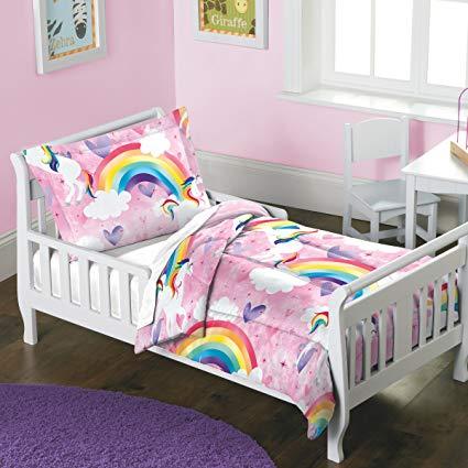 Amazon Com  Dream Factory Unicorn Rainbow Comforter Set Toddler