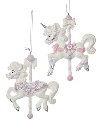 Amazon Com  Kurt Adler Sugar Plum Carousel Horse And Unicorn