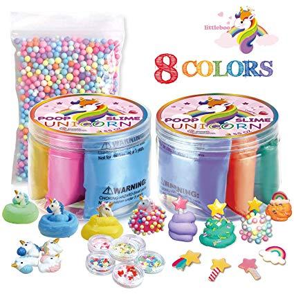 Amazon Com  Littleboo Unicorn Poop Slime Kit – 8 Colors Fluffy