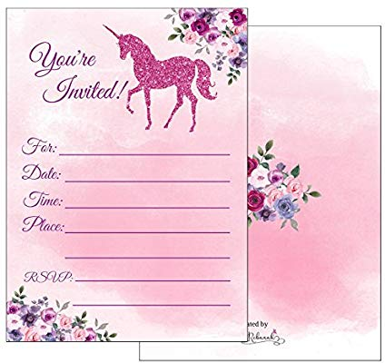 Amazon Com  Magical Unicorn Party Invitations With Envelopes For