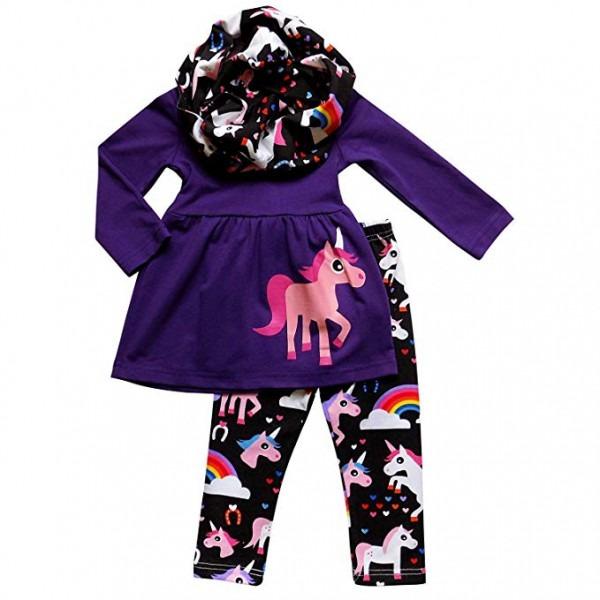 Amazon Com  So Sydney Toddler Girls 3 Pc Unicorn Print Tunic Top