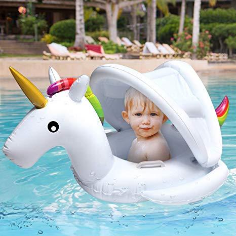 Amazon Com  Soyoekbt Baby Pool Float With Canopy Kids Unicorn