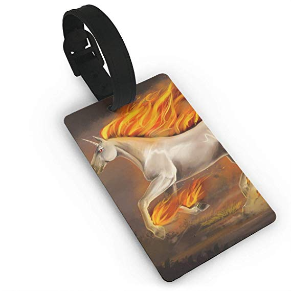 Amazon Com  Travel Luggage Tags Unicorn Fire Horse Name Id