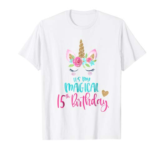 Amazon Com  Unicorn 15th Birthday Party Shirt Girl 15 Years Old T