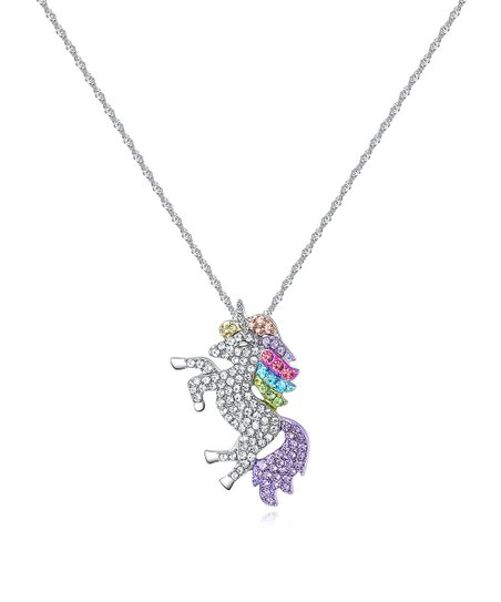Amy And Annette Purple & Pink Unicorn Pendant Necklace With