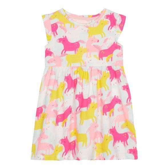 Bluezoo Girls' Aqua Unicorn Print Dress