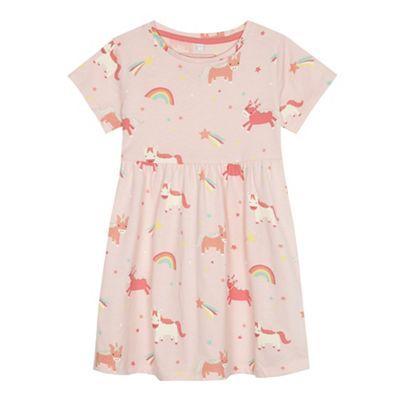 Bluezoo Girls' Light Pink Unicorn Print Dress