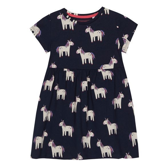 Bluezoo Girls' Navy Unicorn Print Dress