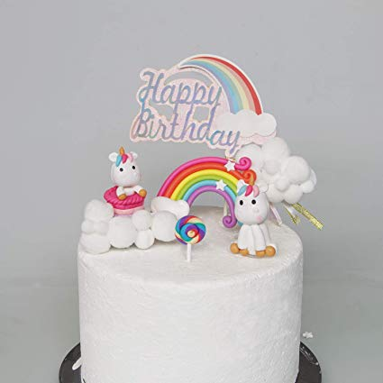Cloud Rainbow And Unicorn Cake Toppers Kit (set Of 6)kids Girls
