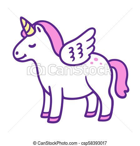 Cute Cartoon Unicorn Pony  Funny Chubby Little Horse With Horn And