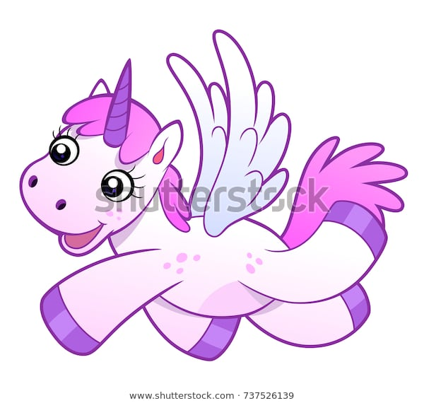 Cute Pink Cartoon Unicorn Wings On Stock Vector (royalty Free