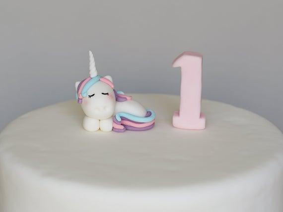 Cute Sleepy Baby Unicorn Cake Topper Fondant