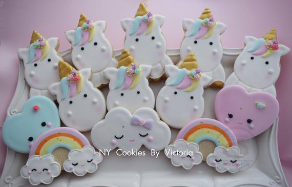 Cute Unicorn Baby Shower Cookies Unicorn Themed Birthday
