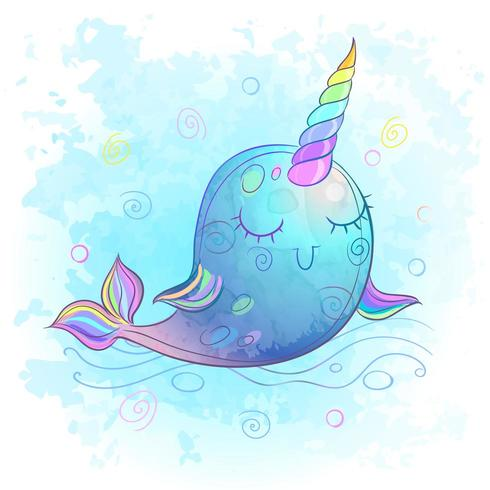 Cute Unicorn Whale  Watercolor  Vector Illustration