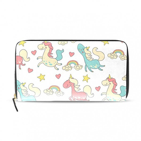 Fantazio Clutch Wallet Lady Unicorn Name Card Organizer At Amazon