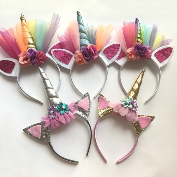 Fashion Glitter Unicorn Horns Headbands For Girls And Kids 2017