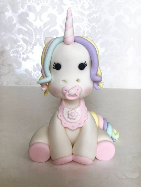 Fondant Unicorn Cake Topper  Rainbow Unicorn Cake Topper  Unicorn