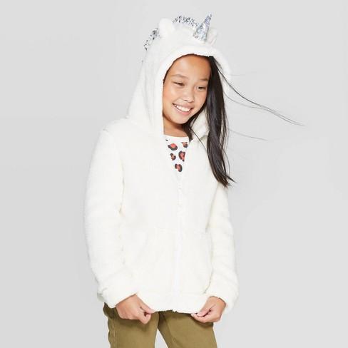 Girls' Long Sleeve Unicorn Sherpa Hoodie