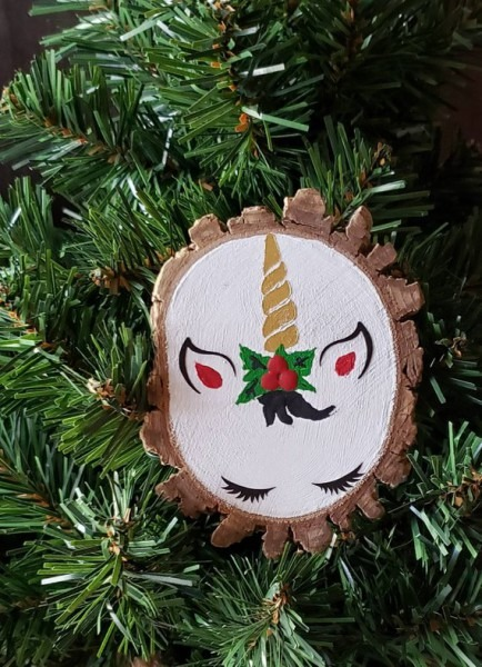 Hand Painted Christmas Unicorn Wood Slice Ornament, Unicorn