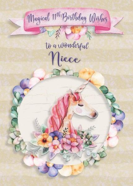 Happy Birthday 11th Birthday To Niece Pretty Unicorn And Flowers