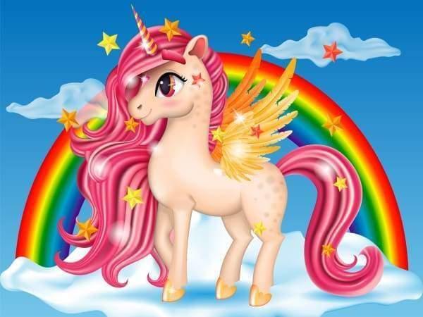 Happy Rainbow Unicorn  Diamond Painting Kit (full Drill)