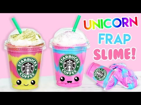 How To Make Starbucks Unicorn + Mermaid Frap Fluffy Slime! (no