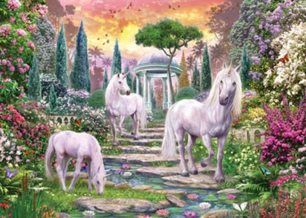 Jigsaw Puzzle Fantasy Unicorn Magic Garden Glitter 500 Piece New
