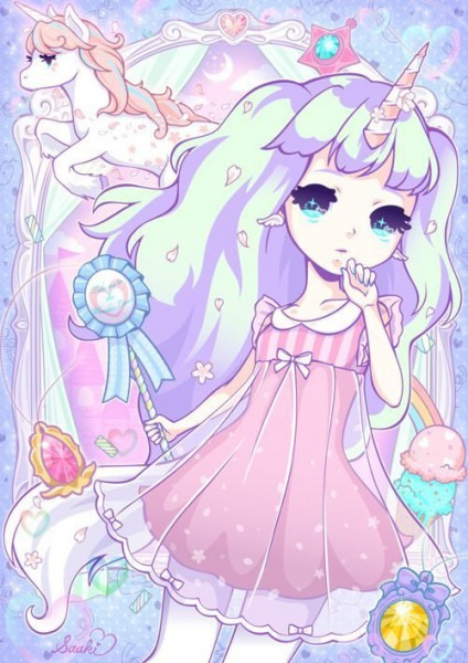 Kawaii Anime Chibi Girl And Unicorn Pastel Colours