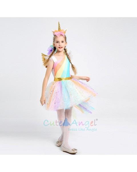 Kids Rainbow Unicorn Dress For Girls Cosplay Prom Costume Children