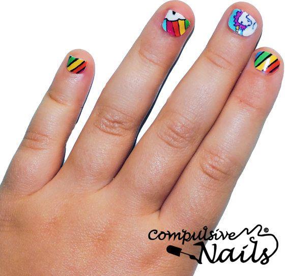 Kid's Size Rainbow Unicorn Nail Wraps  Nail By Compulsivenails