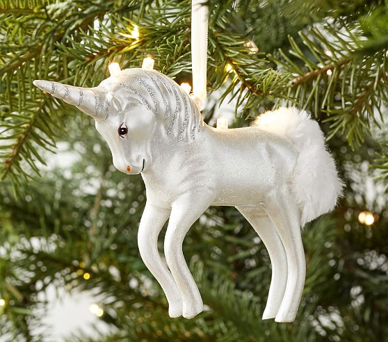 Light Up Mercury Glass Unicorn Christmas Ornament