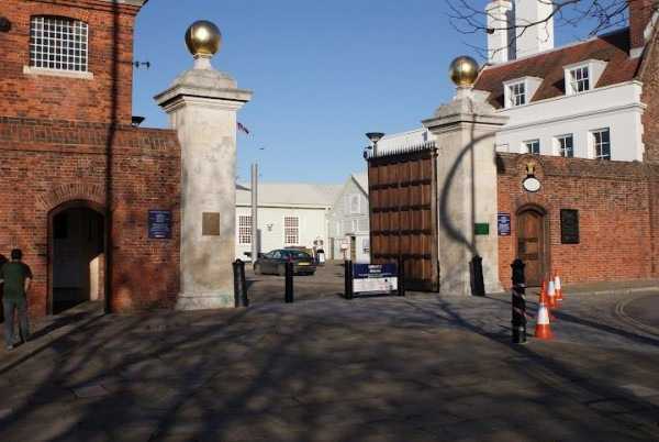 Main Gate To Portsmouth Historic Dockyard And Royal Navy Base  At