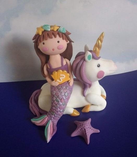 Mermaid And Unicorn Cake Toppers Birthday Cake