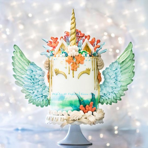 Mermaid Unicorn Cake With Meringue Wings By With Love &