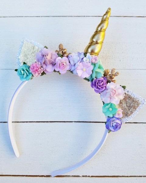 Pastel Floral Unicorn Horn Headband Gold Unicorn Horn