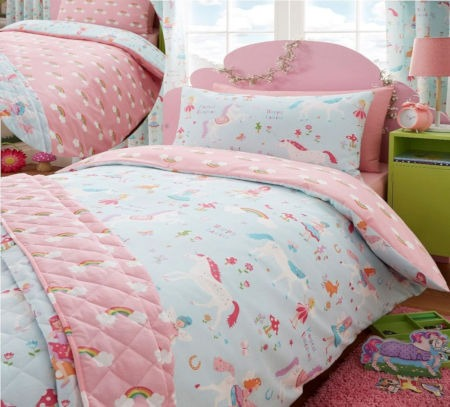 Pink Blue Magical Unicorn & Fairies Bedding Toddler Twin & Full