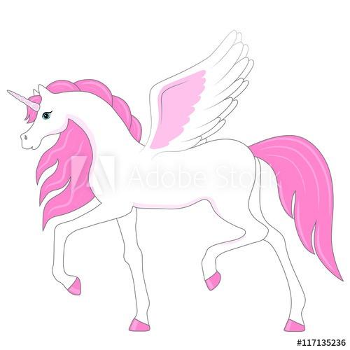 Pink Cartoon Unicorn Pegasus