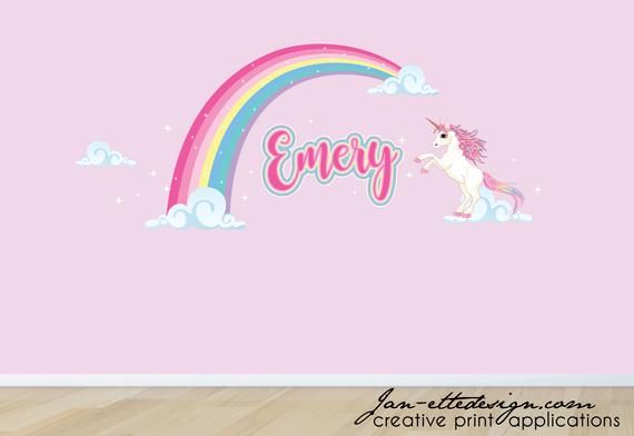 Pink Rainbow With Pink Rainbow Unicorn Removable Wall Decal