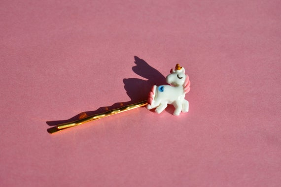 Pink Unicorn Gold Hair Pin    Gifts For Her    Kawaii Hair Pin