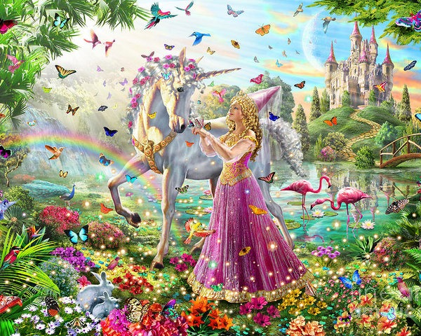 Princess And The Unicorn Poster By Mgl Meiklejohn Graphics Licensing