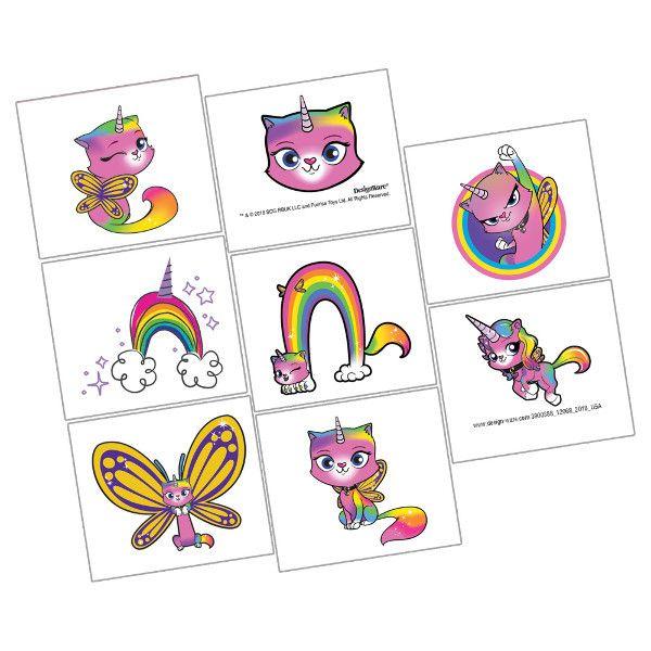 Rainbow Butterfly Unicorn Kitty Tattoos