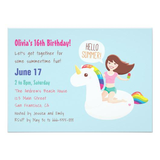 Rainbow Unicorn Float Summer Birthday Party Card – Invitations 4 U