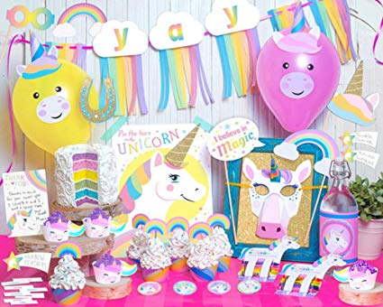 Set Of 84)rainbow Unicorn Birthday Theme Party Supplies Pack